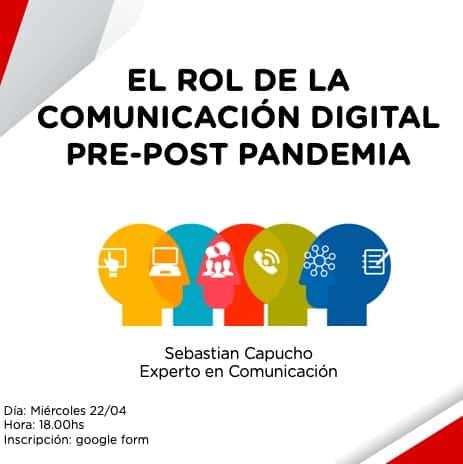 """Charla virtual: """"El Rol de la Comunicación Digital Pre-Post Pandemia"""""""